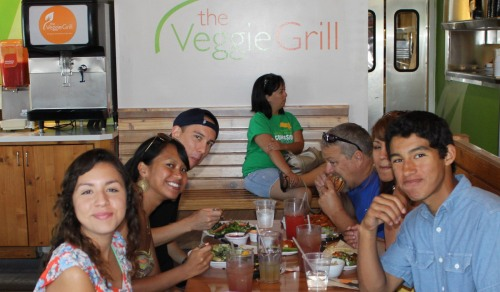 family at veggie grill