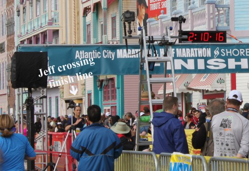 Jeff crossing finish line